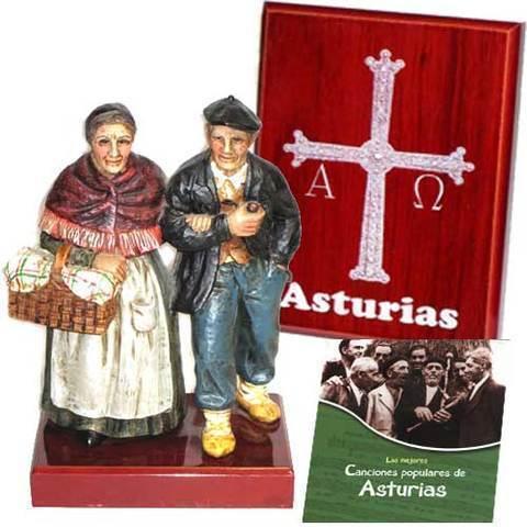 Artesania Asturiana - Figura pareja abuelos asturianos + Placa sobremesa cruz de la victoria - Editorial Picu Urriellu