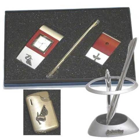 Artesania Asturiana - Material para oficina - Juego reloj y portaboligrafos + portabolis acero - Editorial Picu Urriellu