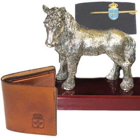 Artesania Asturiana - Asturcon baño plata + cartera piel escudo de Asturias - Editorial Picu Urriellu