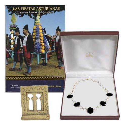 Artesania Asturiana - Gargantilla oro con azabache + Libro Fiestas asturianas - Editorial Picu Urriellu