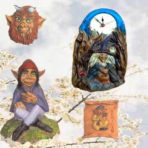 Artesania Asturiana - Reloj bruxa, Figura Trasgu, Diañu y Sumiciu colgar - Editorial Picu Urriellu