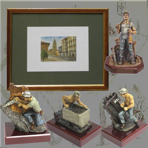 Artesania Asturiana - Figuras mineros policromadas y Cuadro acuarela - Editorial Picu Urriellu