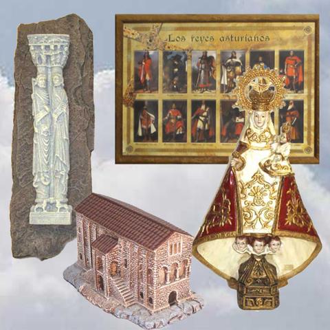 Artesania Asturiana - Cuadro reyes asturianos, Virgen Covadonga, Apostoles y Santa Maria del Naranco - Editorial Picu Urriellu