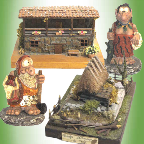 Artesania Asturiana - Casa y Teito de piedra con figuras celtas - Editorial Picu Urriellu