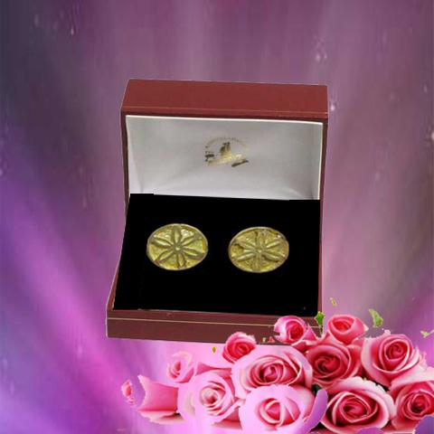 Artesania Asturiana - Pendientes flor galana pequeño - oro - Editorial Picu Urriellu