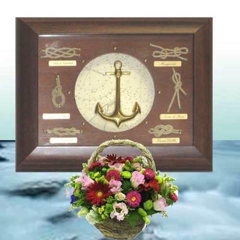 Artesania Asturiana - Nudos marineros marco caoba ancla - Editorial Picu Urriellu