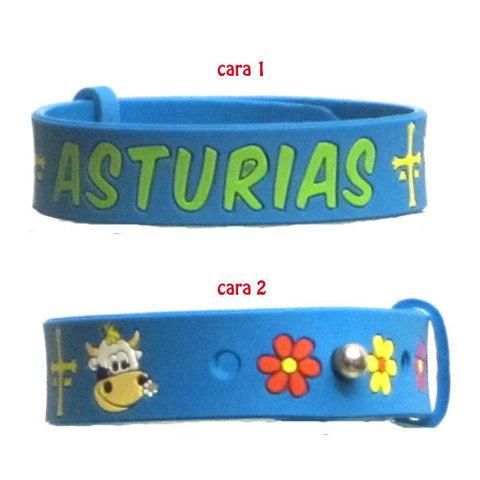 Artesania Asturiana - Pulsera Asturias con vaquita y flor - Editorial Picu Urriellu