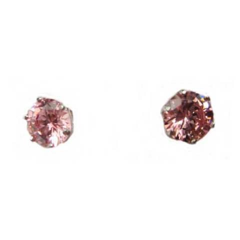 Artesania Asturiana - Pendientes plata presion circonita exagonal color rosa - Editorial Picu Urriellu