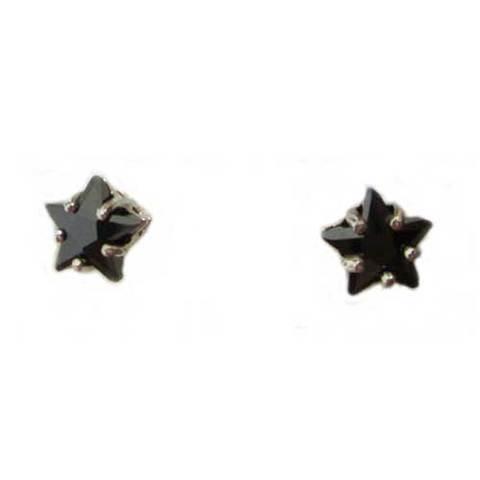 Artesania Asturiana - Pendientes plata presion circonita estrella color negro - Editorial Picu Urriellu