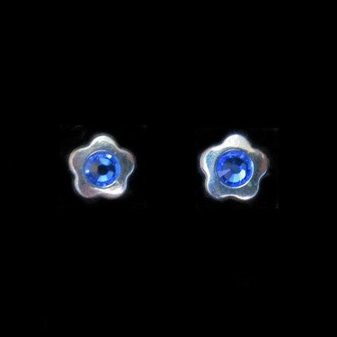 Artesania Asturiana - Pendientes plata presion circonita flor color azul - Editorial Picu Urriellu
