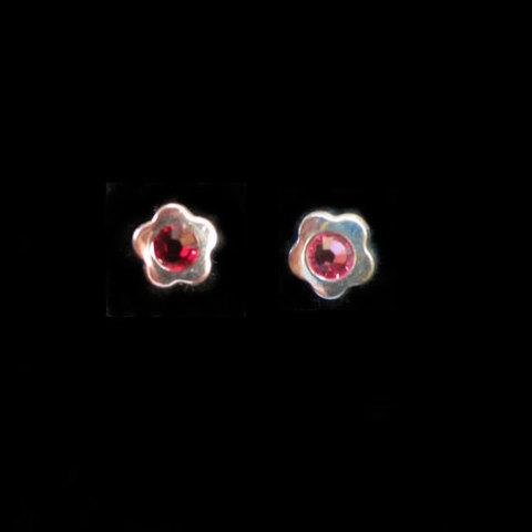 Artesania Asturiana - Pendientes plata presion circonita flor color rojo - Editorial Picu Urriellu