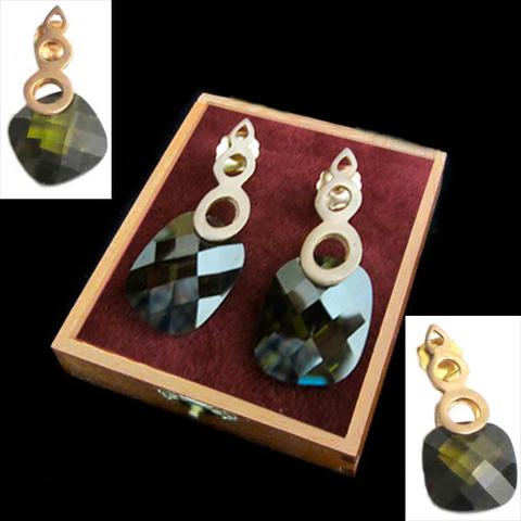 Artesania Asturiana - Pendientes plata bañada en oro con piedra natural color verde  - Editorial Picu Urriellu
