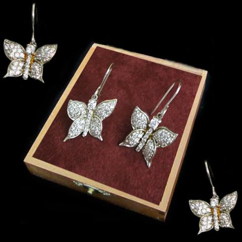 Artesania Asturiana - Pendientes mariposa plata colgar con circonitas - Editorial Picu Urriellu