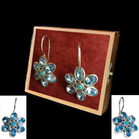 Artesania Asturiana - Pendientes plata colgar margaritas con piedras naturales color azul - Editorial Picu Urriellu