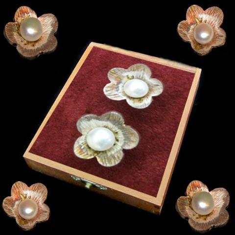 Artesania Asturiana - Pendientes plata presión con flor y perla - Editorial Picu Urriellu