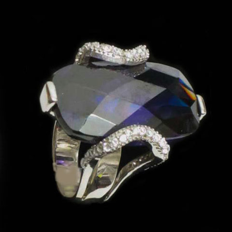 Artesania Asturiana - Anillo plata diseño piedra natural violeta con circonitas - Editorial Picu Urriellu