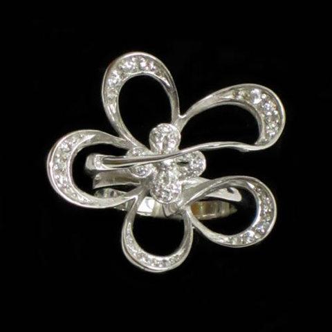 Artesania Asturiana - Anillo plata diseño flor con circonitas - Editorial Picu Urriellu
