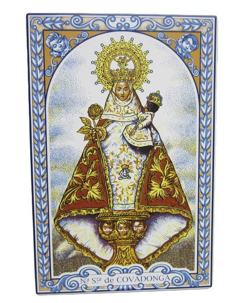 Artesania Asturiana - Azulejo Virgen de Covadonga 30 x 20 cm. - Editorial Picu Urriellu