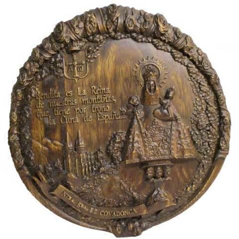 Artesania Asturiana - Virgen de Covadonga talla redonda colgar - Editorial Picu Urriellu