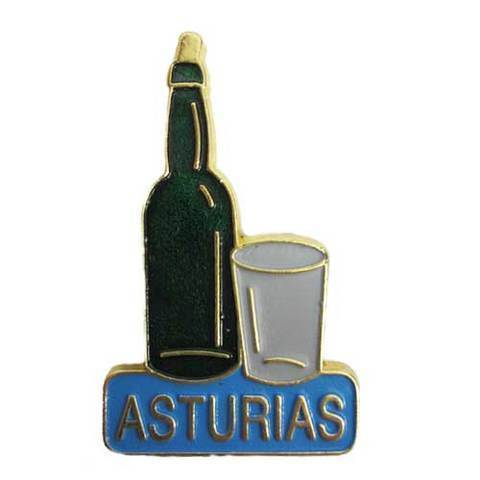 Artesania Asturiana - Iman metal botella y vaso de sidra dorado - Editorial Picu Urriellu