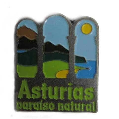 Artesania Asturiana - Imán metal Asturias paraíso natural  - Editorial Picu Urriellu