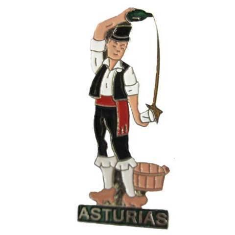 Artesania Asturiana - Iman metal escanciador plateado - Editorial Picu Urriellu
