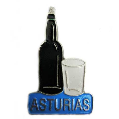 Artesania Asturiana - Iman metal botella y vaso de sidra plateado - Editorial Picu Urriellu