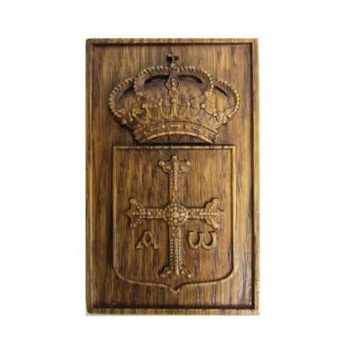 Artesania Asturiana - Iman madera tallada escudo de Asturias - Editorial Picu Urriellu