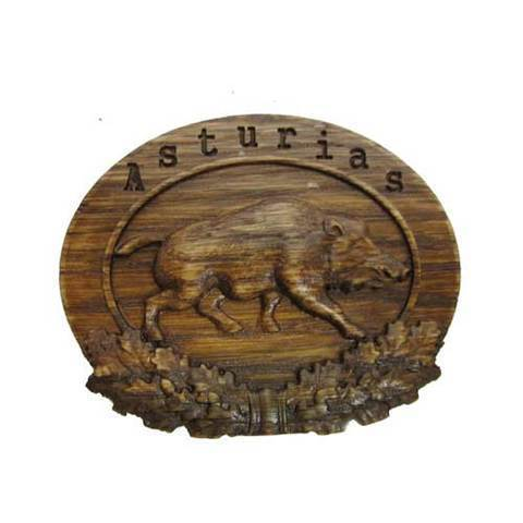 Artesania Asturiana - Iman madera tallado Jabalí con Asturias - Editorial Picu Urriellu
