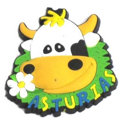 Artesania Asturiana - Iman goma Cara vaca flor asturias  - Editorial Picu Urriellu