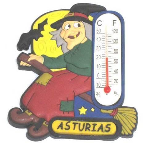 Artesania Asturiana -  Iman goma Termometro bruja Asturias  - Editorial Picu Urriellu