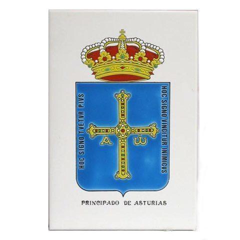 Artesania Asturiana - Azulejo escudo Asturias o concejos 30 x 20 cm. - Editorial Picu Urriellu