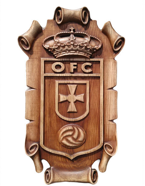 Artesania Asturiana -  Escudo Oviedo Futbol Club - Pergamino para colgar  - Editorial Picu Urriellu