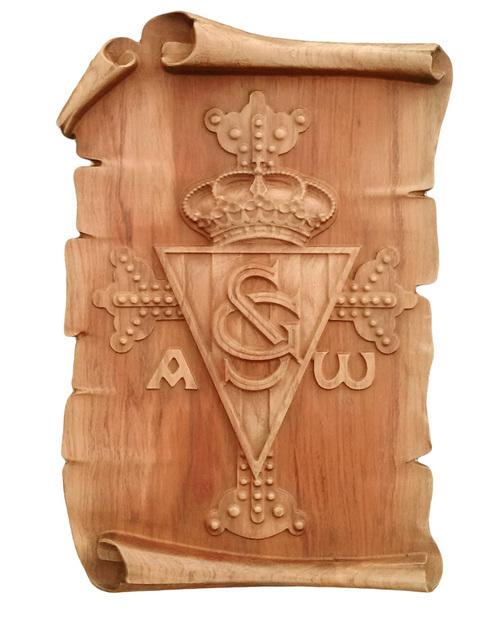 Artesania Asturiana -  Escudo Real Soprting de Gijón con cruz de la Victoria - Pergamino para colgar - Editorial Picu Urriellu