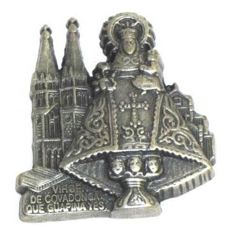 Artesania Asturiana -  Iman metal Virgen de Covadonga basilica plateado  - Editorial Picu Urriellu