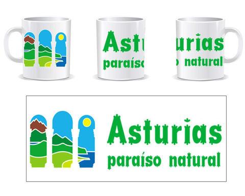 Artesania Asturiana - Taza Cerámica logo Asturias paraiso natural con letras - Editorial Picu Urriellu