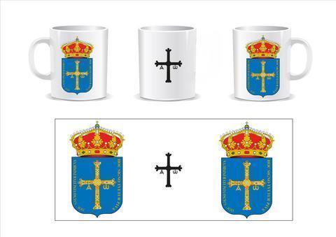 Artesania Asturiana - Taza Cerámica logo Escudo Principado de Asturias y Cruz de la Victoria - Editorial Picu Urriellu