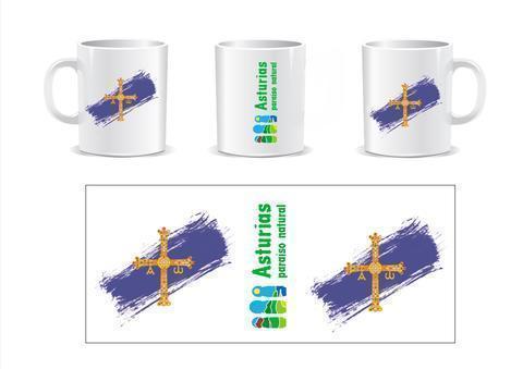 Artesania Asturiana - Taza Cerámica Bandera de Asturias y Logo y letras de Paraiso Natural - Editorial Picu Urriellu