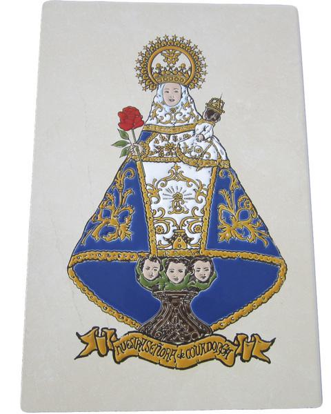 Artesania Asturiana -  Azulejo Virgen de Covadonga 30  x 20 cm.Relieve Manto Azul - Editorial Picu Urriellu