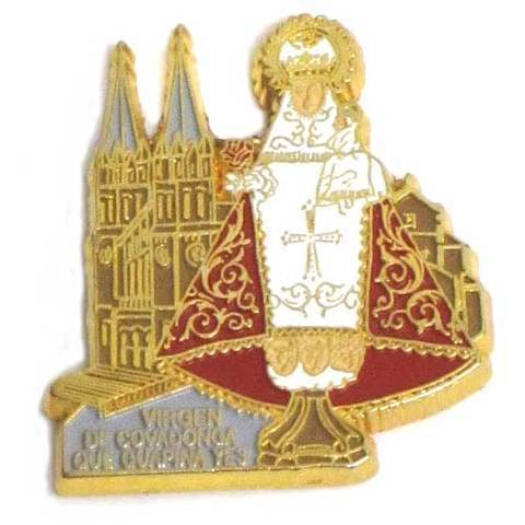 Artesania Asturiana -  Iman metal Virgen de Covadonga basilica color  - Editorial Picu Urriellu