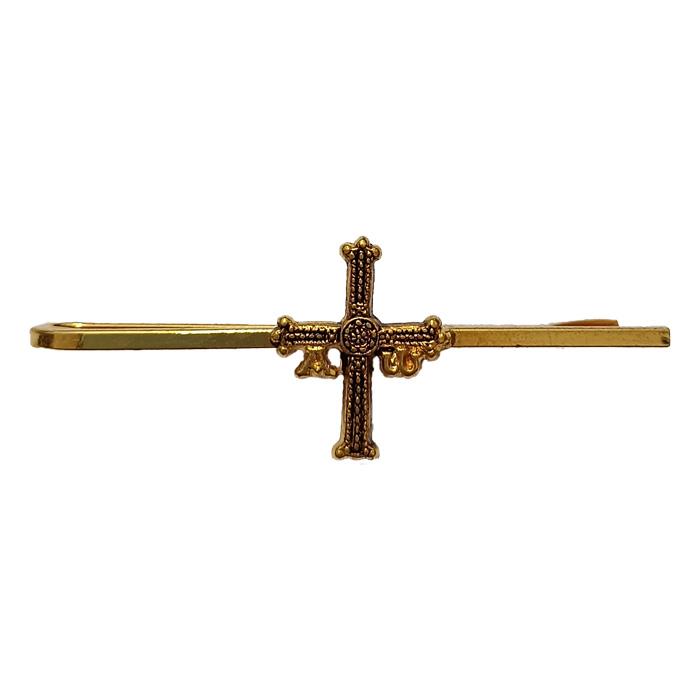 Artesania Asturiana - Pasador de corbata - Cruz de la Victoria - dorado - Editorial Picu Urriellu