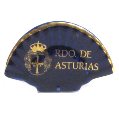 Artesania Asturiana -  Abanico cobalto escudo de Asturias - Editorial Picu Urriellu