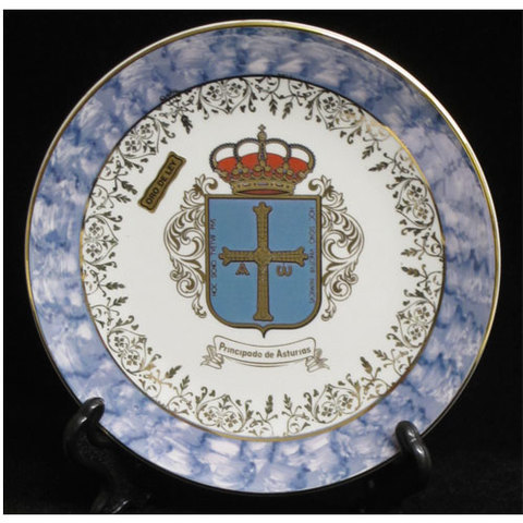 Artesania Asturiana -  Plato porcelana color escudo asturias - Editorial Picu Urriellu