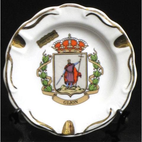 Artesania Asturiana -  Cenicero plano redondo - escudo Gijon - Editorial Picu Urriellu