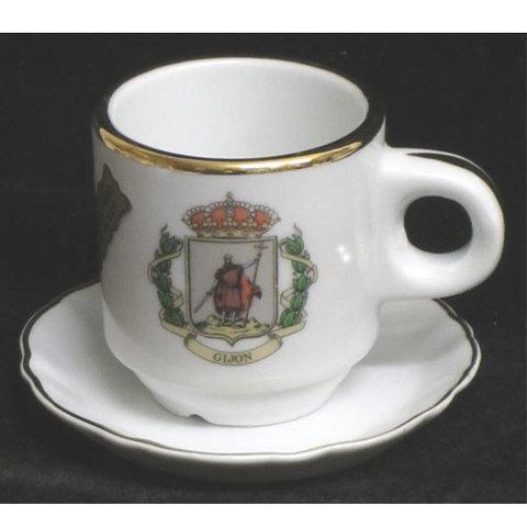 Artesania Asturiana -  Taza de cafe - escudo Gijon - Editorial Picu Urriellu