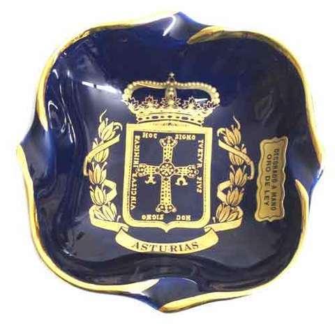 Artesania Asturiana -  Cenicero cobalto ovalao - escudo de Asturias - Editorial Picu Urriellu