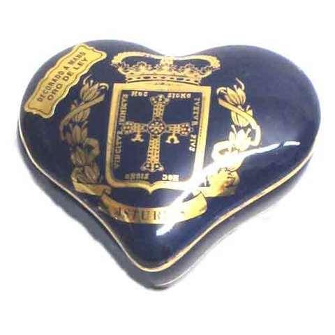 Artesania Asturiana -  Joyero corazon cobalto - escudo de Asturias - Editorial Picu Urriellu