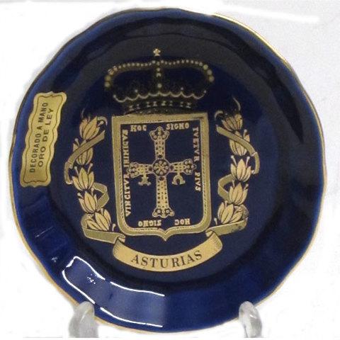 Artesania Asturiana -  Plato cobalto pequeño- escudo asturias - Editorial Picu Urriellu