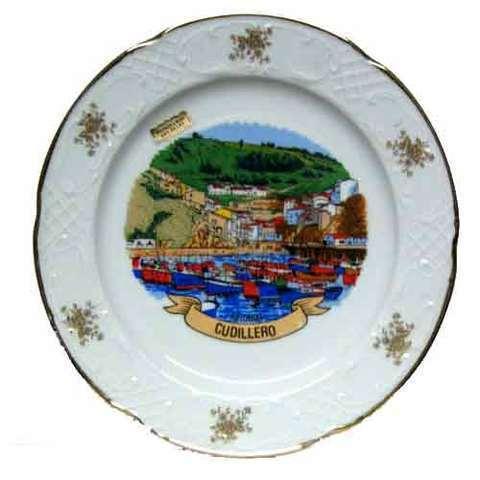 Artesania Asturiana -  Plato porcelana grande - paisaje Cudillero - Editorial Picu Urriellu
