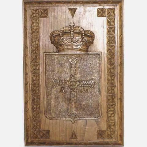 Artesania Asturiana -  Escudo de Asturias tallas laterales  - Editorial Picu Urriellu